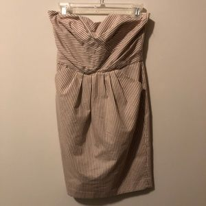 French Connection Strapless PinStripe Dress Tan